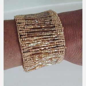 Gold Beaded Sparkling Cuff Bracelet
